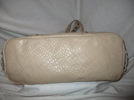 Cecconi Croc Leather Studded Tote in beige Image 8