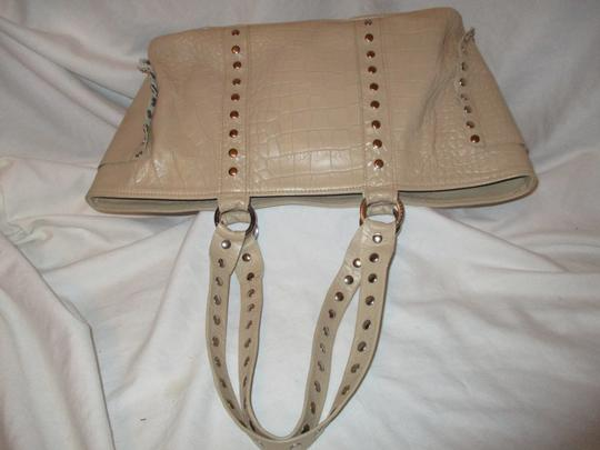 Cecconi Croc Leather Studded Tote in beige Image 9