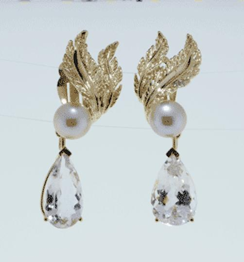 Other MUST SEE- 14k gold 15 cts Morganites &10 mm pearl dangle earrings Image 1