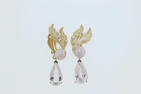 Other MUST SEE- 14k gold 15 cts Morganites &10 mm pearl dangle earrings Image 2