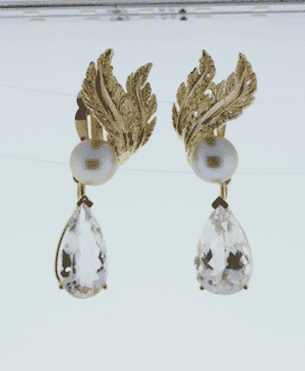 Other MUST SEE- 14k gold 15 cts Morganites &10 mm pearl dangle earrings Image 3