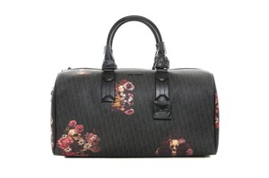 Dior Duffle Floral Leather Black Travel Bag