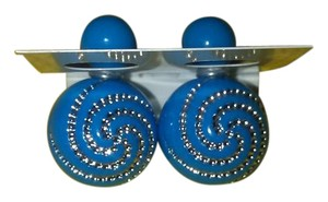 Other Baby Blue Double Ball Resin Earrings With Rhinestone Detail