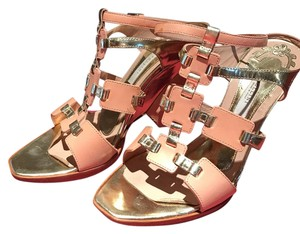 Pollini Nude & Gold Wedges
