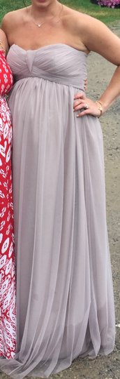 Amsale Latte Tulle Maternity with Spaghetti Strap Halter Top Formal Bridesmaid/Mob Dress Size 8 (M) Image 1