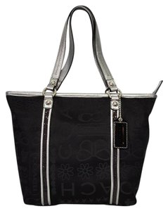 Coach Very Rare Metallic Star Heart Butterfly Tote in Black & Silver