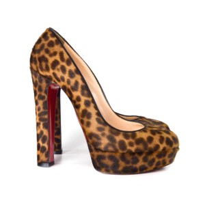 Christian Louboutin Leopard Animal Print Ponyhair Platform Red Multi Pumps