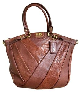 Coach Leather Diagonal Madison Tote in Brown