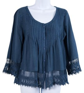 American Eagle Outfitters Lace Trim Peasant Top Blue