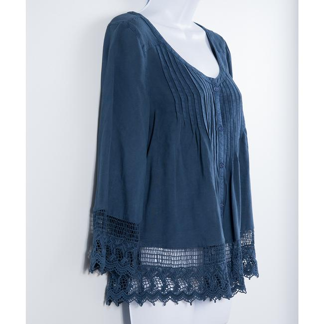 American Eagle Outfitters Lace Trim Peasant Top Blue Image 1