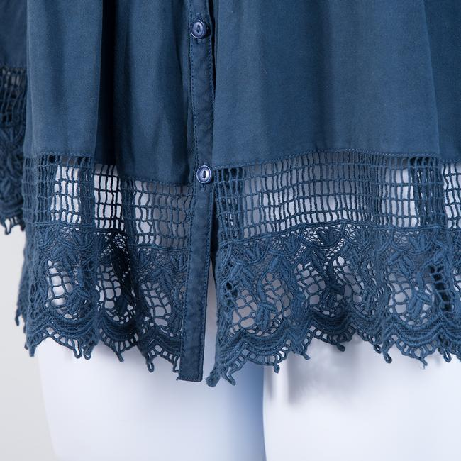 American Eagle Outfitters Lace Trim Peasant Top Blue Image 2