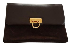 Salvatore Ferragamo Vintage Suede Leather Brown Clutch