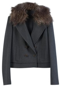 Ann Taylor Fur Nwot Removable Collar Gray Jacket