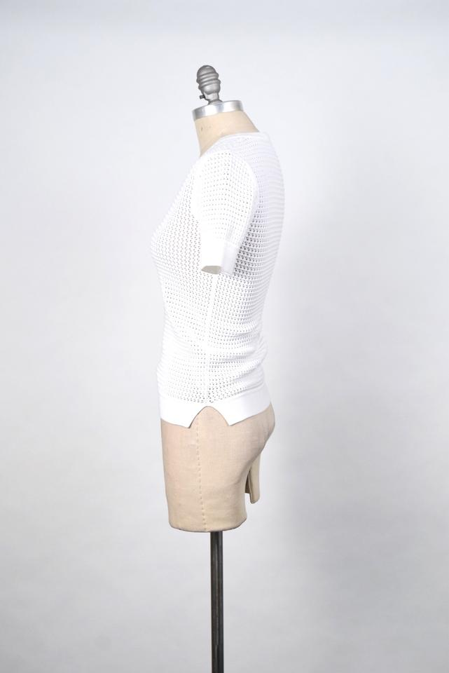 4396c219def Theory Perforated Knit White Sweater - Tradesy
