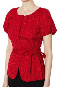 Lafayette 148 New York Eyelet Belted Short Sleeve Button Down Collarless Jacket