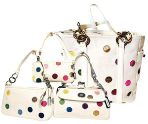 Coach Polka Dot Leather Kisslock Set Matching Tote in White/ multi