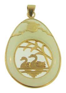 Other Antique Bamboo And Swan Art Jade Necklace- 14k Yellow Gold