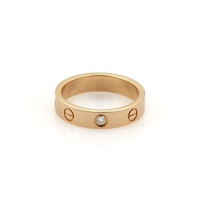 Cartier Mini Love 1 Diamond 18k Yellow Gold 4mm Band Ring Size EU 50-US 5.25
