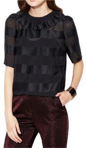 Marc by Marc Jacobs Striped Sheer Silk Ruffle Chiffon Top Black