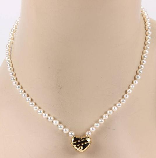 Tiffany & Co. 18kt Yellow Gold Arrow Heart Pendant & Salt Water Pearl Necklace Image 1