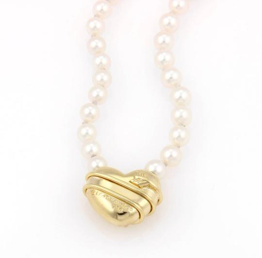 Tiffany & Co. 18kt Yellow Gold Arrow Heart Pendant & Salt Water Pearl Necklace Image 3