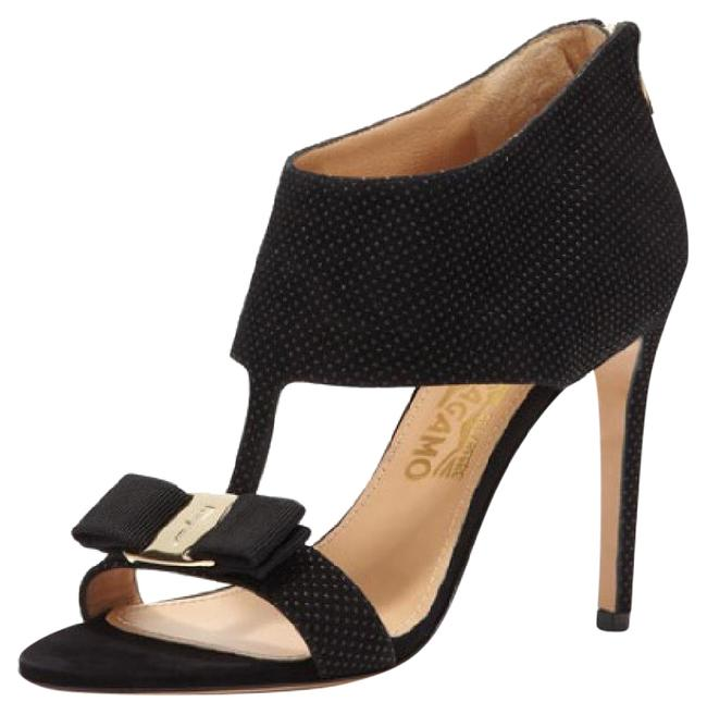 Item - Black and Gold T-trap with Bow Sandals Formal Shoes Size US 8 Regular (M, B)