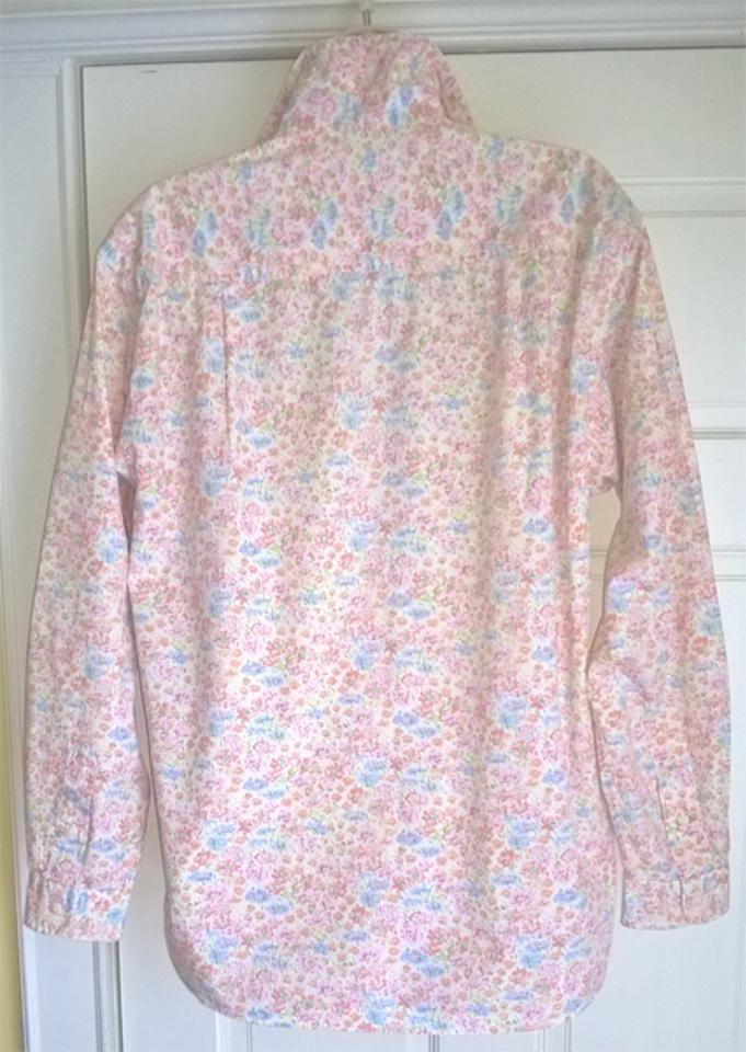 Brooks brothers like new pink multi mini floral poplin for Pastel pink button down shirt