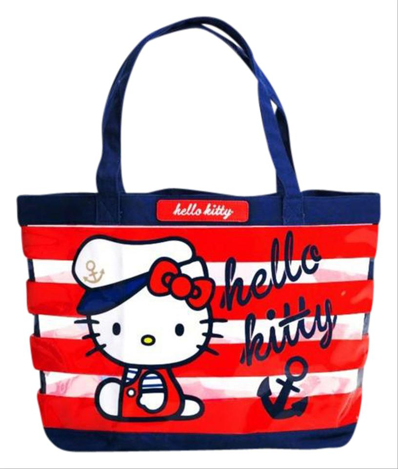 f2e9deb04f1 Loungefly Hello Kitty Sailor Blue Red White Clear Plastic Beach Bag ...