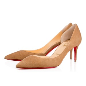 Christian Louboutin Iriza New Suede 70mm 3 Inch cappuccino Pumps