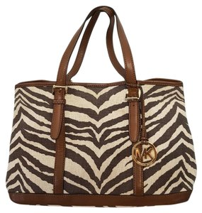 Michael Kors Animal Print Canvas Leather Mk Zebra Tote in Cream and Brown