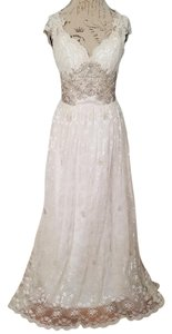 Ethereal Gatsby Beaded Cap Sleeve Gown Ivory W/ Lace And Tulle Wedding Dress