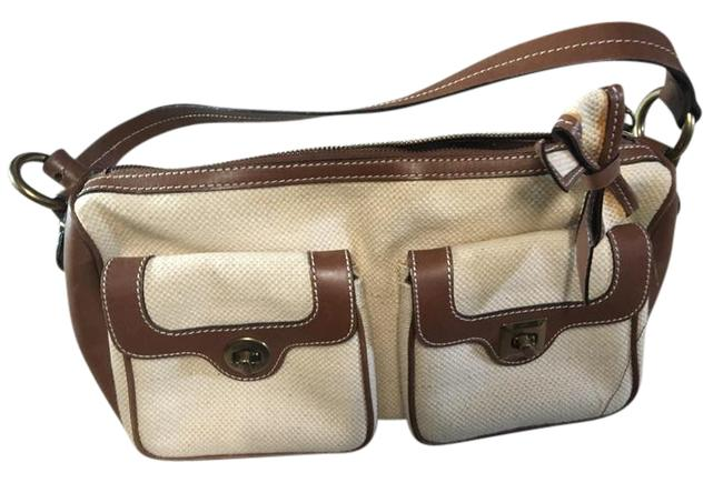 Item - Leather Cream and Brown Canvas Hobo Bag
