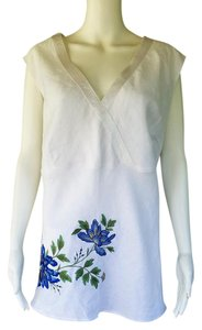 Anne Carson Embroidered Linen Floral Top White