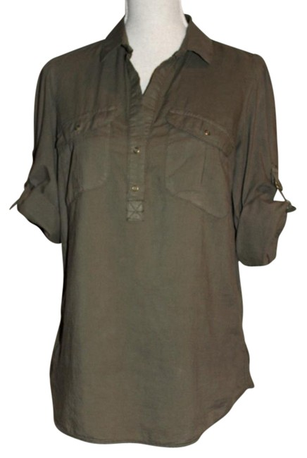 Preload https://img-static.tradesy.com/item/21105644/fei-olive-green-safari-popover-blouse-size-6-s-0-1-650-650.jpg