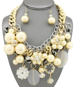 Other Chunky Pearl Gold And Silver Tone Chain Necklace And Earrings