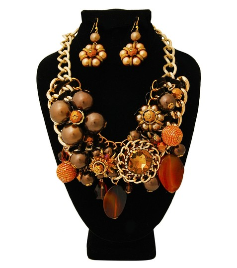 Other Chunky Pearl Gold And Silver Tone Chain Necklace And Earrings Image 2