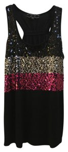 Pink Rose Sequin Top Black Silver Pink