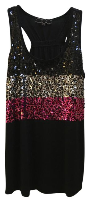 Item - Black Silver Sequin Tank Top/Cami Size 8 (M)