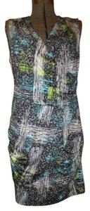 BCBGMAXAZRIA short dress black, white & turquoise print Knit Sleeveless on Tradesy
