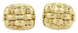 Tiffany & Co. 18K Yellow Gold 5 Row Basket Weave Omega Back Earrings