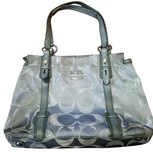Coach Satchel in Silver with purple lining