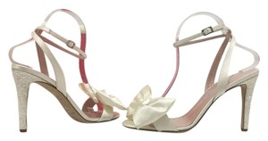 Kate Spade Bow High Heels Sandals Ivory Satin Formal