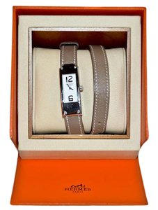 Hermès Authentic Hermes Taupe Leather Kelly Double Tour Watch
