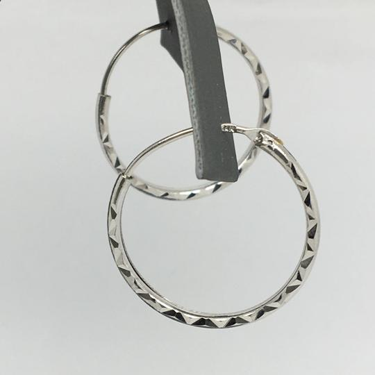 Other 14K White Gold Diamond Cut Hoop Earrings Image 1
