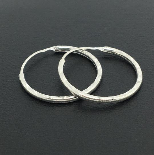 Other 14K White Gold Diamond Cut Hoop Earrings Image 2
