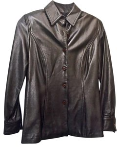 St. John Lamb Leather Button Front Classic Style Excellent Condition Brown Leather Jacket