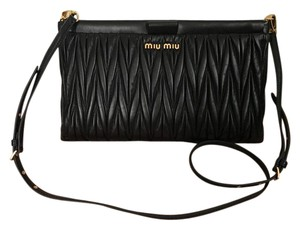 Miu Miu Quilted Leather Black Clutch