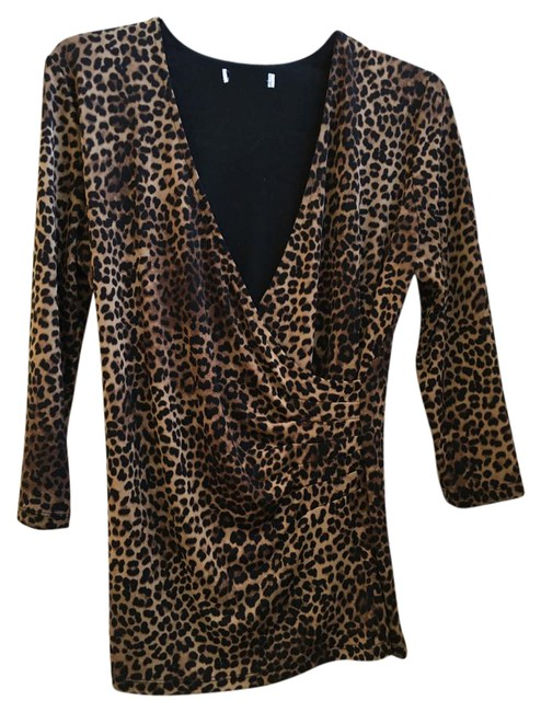 Other Leopard Wrap 3/4 Sleeves Tunic Image 0