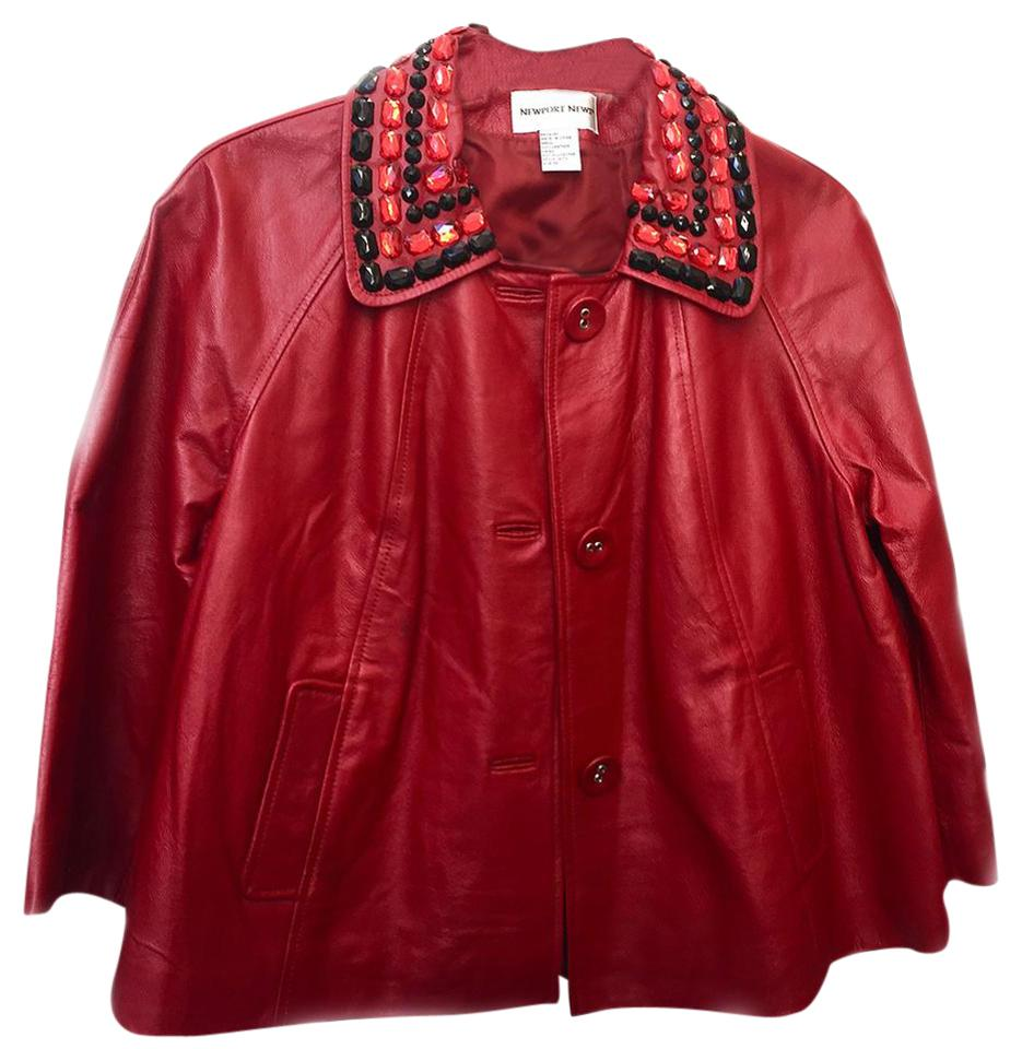 Newport News Red Jeweled Collar Swing Style Jacket Size 10 M Tradesy