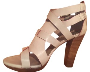 Pour La Victoire Sexy Block Heel Summer Comfortable Leather Cream Sandals